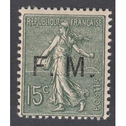 TIMBRES FRANCHISES MILITAIRE POUR COLIS N°14C et 15 oblitérés Côtes 110 Euros