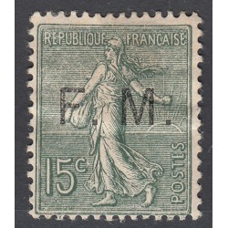 TIMBRE DE FRANCHISE 15 c. vert olive N°3 NEUF Signé 1901-04 Côte 80 Euros