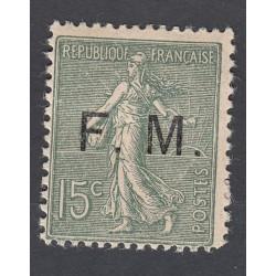TIMBRE DE FRANCHISE 15 c. vert olive N°3 NEUF