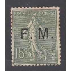 TIMBRE DE FRANCHISE 15 c. vert olive N°3 NEUF 1901-04  Côte 80 Euros