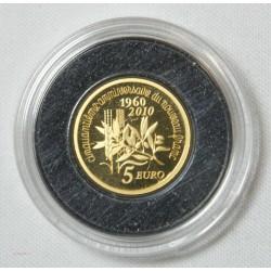 France 5 euro or 2010 la semeuse 50 ans de nouveaux Franc