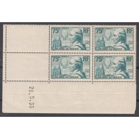 COIN DATE N° 313 Pilâtre de Rozier 1936 NEUF** Côte 225 Euros