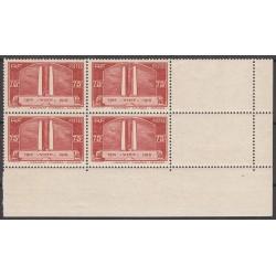 BLOC DE 4 TIMBRES COIN DE FEUILLE N° 316 Vimy Rouge 1936 NEUF** Signé Cote 140 Euros