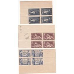 BLOCS DE 4 TIMBRES N° 352-356-357 Année 1937 NEUFS