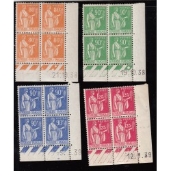 COINS DATES 4 blocs de 4 timbres Paix 1937-1939 NEUFS** Cote 40 Euros