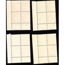 COINS DATES 4 blocs de 4 timbres Paix 1937-1939 NEUFS** Côte 40 Euros