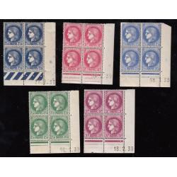 COINS DATES 5 blocs de 4 timbres Cérès 1938-1941 NEUFS
