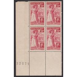Coin de feuille - Bloc de 4 - N° 401 Rapatriés Année 1938 NEUF*