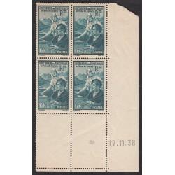 Coin Daté - Bloc de 4 - N° 417 Etudiants Année 1938