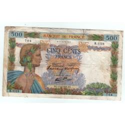 LA PAIX - 500 Francs 09-01-1941 TB+