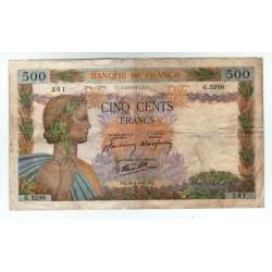 LA PAIX - 500 Francs 15-10-1942 TTB