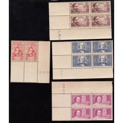 LOT COINS DE FEUILLES DATES OU NON   1939 NEUFS**