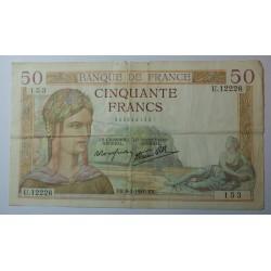 Billet de 50 Francs Cérès 02-02-1939
