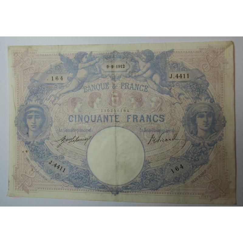 Billet de 50 FRANCS Bleu et rose 9-9-1912 Fay. 14.25