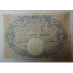 Billet de 50 FRANCS Bleu et rose 4-12-1912 Fay. 14.25