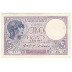 5 FRANCS VIOLET 26.12.1917 TTB+++ Fay 3.1
