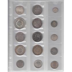 15 Monnaies Françaises Modernes de différentes époques en Argent.