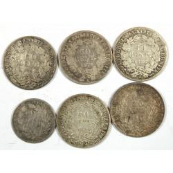 lot de 50 centimes Cérès 1871 A, 1886 A rare, 1888 A, 1894 A +