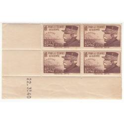 Coin Daté Bloc de 4 timbres N°454  ANNEE 1940 NEUF** Côte 55 Euros