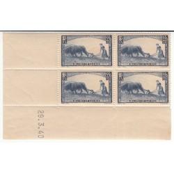 Coin Daté Bloc de 4 timbres N°457 ANNEE 1940 NEUF** Côte 110 Euros