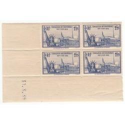 Coin Daté Bloc de 4 timbres N°458  Année 1940 NEUF** Côte 180 Euros