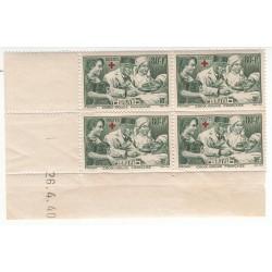 Coin Daté Bloc de 4 timbres N°459  Année 1940 NEUF** Côte 60 Euros