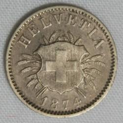 SUISSE SWITZERLAND, MONNAIE 5 RAPPEN 1874 B