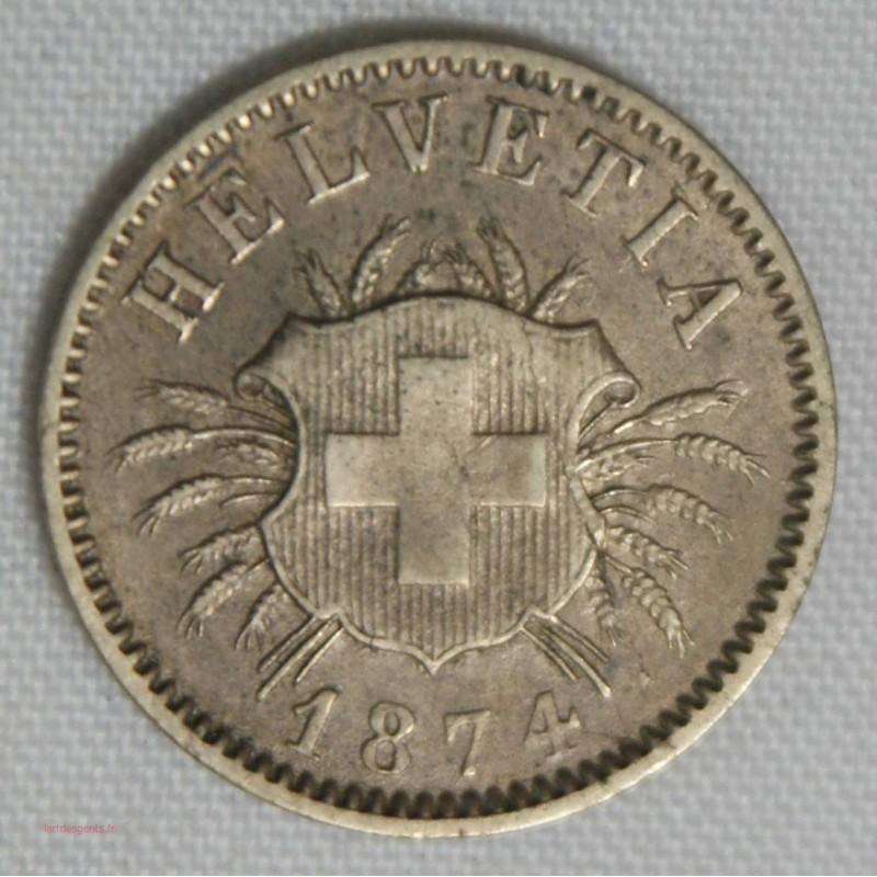 SUISSE SWITZERLAND, MONNAIE 5 RAPPEN 1877 B