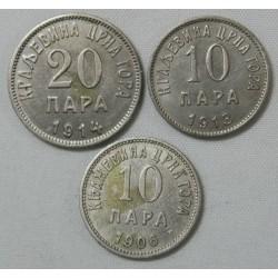 Yougoslavie - 20 Para 1914, 10 Para 1906, 10 Para 1913