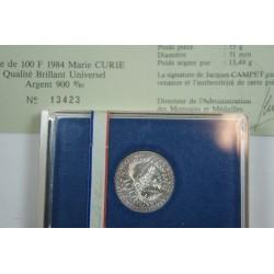 """FRANCE  Coffret BU 1984 100 Francs """"Marie Curie"""""""