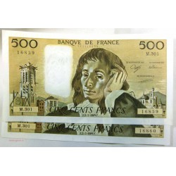 Paire de 500 Francs pascal N° suivie M.301 02-03-1989 SPL