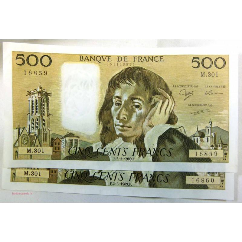 paire Pascal - 500 Francs 02-03-1989 M.301 Splendide