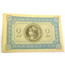 Rare billet de la Banque de Martinique - 2 Francs 1915 Annulée