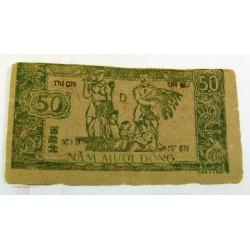 BILLET papier de riz, Vietnam 50 Dông 1948 tb