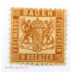 German States Baden, 9 Kreuzer signé Calvès