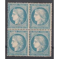 BLOC DE 4 TIMBRES N°37 20 c. Bleu Signés Neufs Côte 2700 Euros
