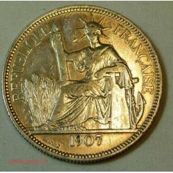 Indochine Française, 1 Piastre 1907 ARGENT