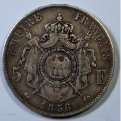 France - Ecu de 5 Francs Napoléon III 1856 D Lyon tête nue