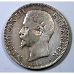 France - Ecu de 5 Francs Napoléon III 1856 petit A