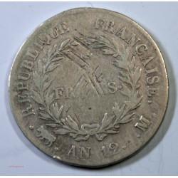 France - Ecu de 5 Francs Napoléon Ier An 12 M