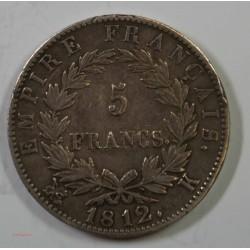 France - Ecu de 5 Francs Napoléon Ier 1812 K Bordeaux