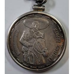 Rare Médaille de 2 onzes en argent , Emiliano ZAPATA Révolution Mexique L'art des gents