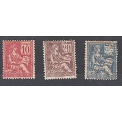 TIMBRES TYPE MOUCHON N° 112-113 et 114 ANNEE 1900 NEUFS Côte 226 Euros