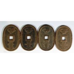 JAPON - 4 pièces de 100 MON en bronze