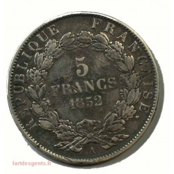 France - Ecu de 5 Francs Napoléon III Tête nue 1852 A Paris