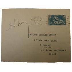 Autographe du Président Albert Lebrun sur lettre 1939, N° 419 OMEC