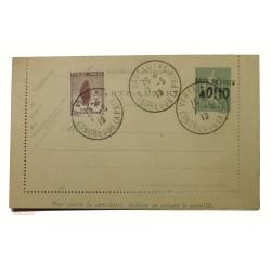ENTIER POSTAL CARTE LETTRE 15c taxe réduite, Congrès de la paix 7-5-1919
