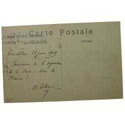 CPA avec signature du député COLOMIES Congrès de la paix VERSAILLES 28-06-1919