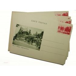 """5 entiers postaux 90c """"le grand lac du bois"""" 1935 a/pochette"""
