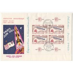 FRANCE - enveloppe 1er jour PHILATEC 1964 - BLOC DE QUATRE TIMBRES OBLITERES - L'art des gents